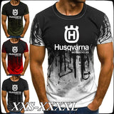 Men's Fashion Husqvarna Logo Printed Splash Ink Graphic T-shirt Motorcycle Racing Short Sleeve