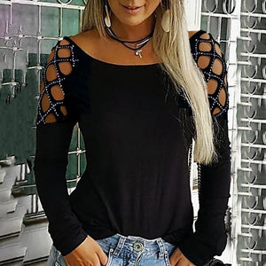 New Trending Women Autumn Fashion O Neck Hollow-Out Studded Long Sleeve Drill T Shirts Casual Solid Color Tops Plus Size