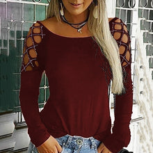 Load image into Gallery viewer, New Trending Women Autumn Fashion O Neck Hollow-Out Studded Long Sleeve Drill T Shirts Casual Solid Color Tops Plus Size