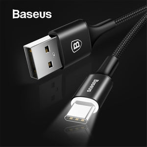 Baseus LED Lighting Type-C cable Lightning Cable Micro USB Cable for Samsung iPhone Android Mobile Phone Fast Charging Cable Data Cable