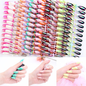1 Fake nail tips (24Pcs)New Fashion Metallic Manicure Mirror Chrome False Nails Fingernails Extensions Nail Art Patch Stiletto Fake Nails