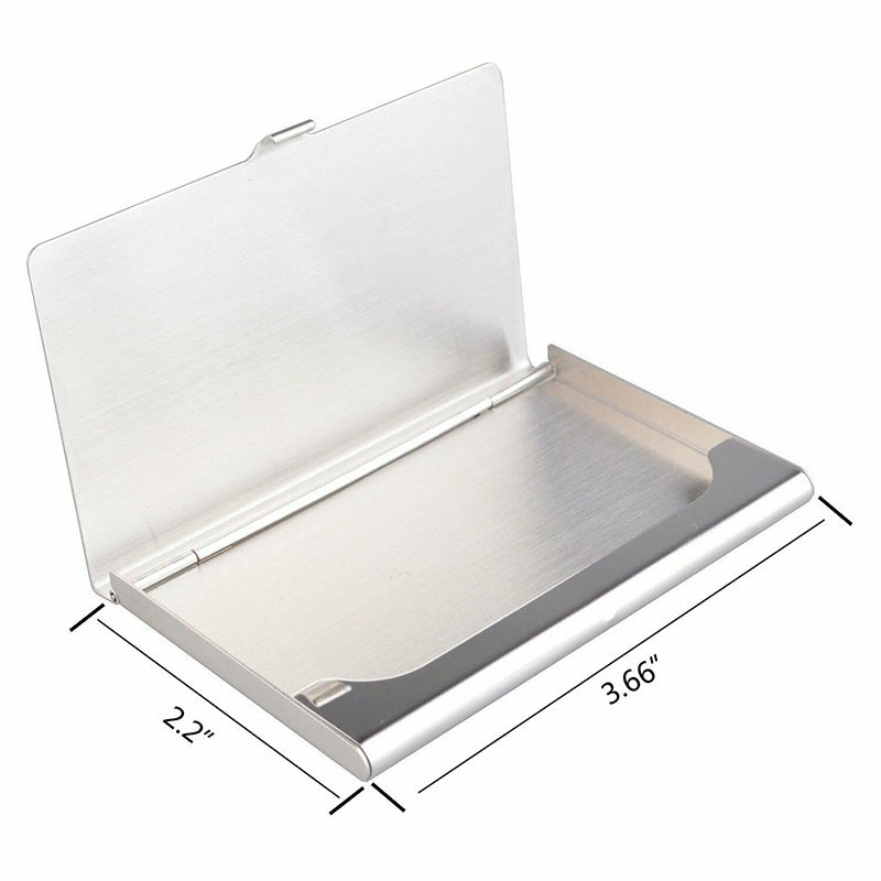 1Pc Chic Aluminum Metal Pocket Business Credit Card Holder Case Box Silver Wallet