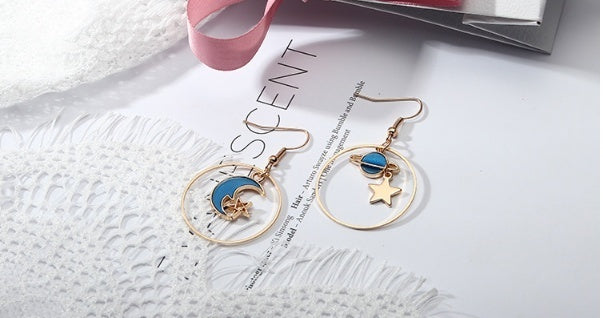 New Popular Women Fashion Asymmetric Earrings Moon Star Sky  Symphony Earrings Version of the Asymmetric Pendant Earrings Female Jewelry Women  Fashion Earring