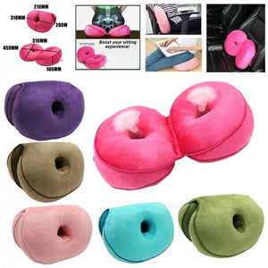 1Pc Foldable Dual Comfort Back Cushion Memory Sponge Hips Lifting Office Seat Pad Mat