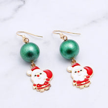 Load image into Gallery viewer, Cute cartoon drop oil color christmas tree christmas gift earrings 1 pair