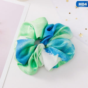 2Pcs Starry Sky Floral Print Chiffon Scrunchie Hair Tie Ponytail Holder Hair Accessories Hair Scrunchies