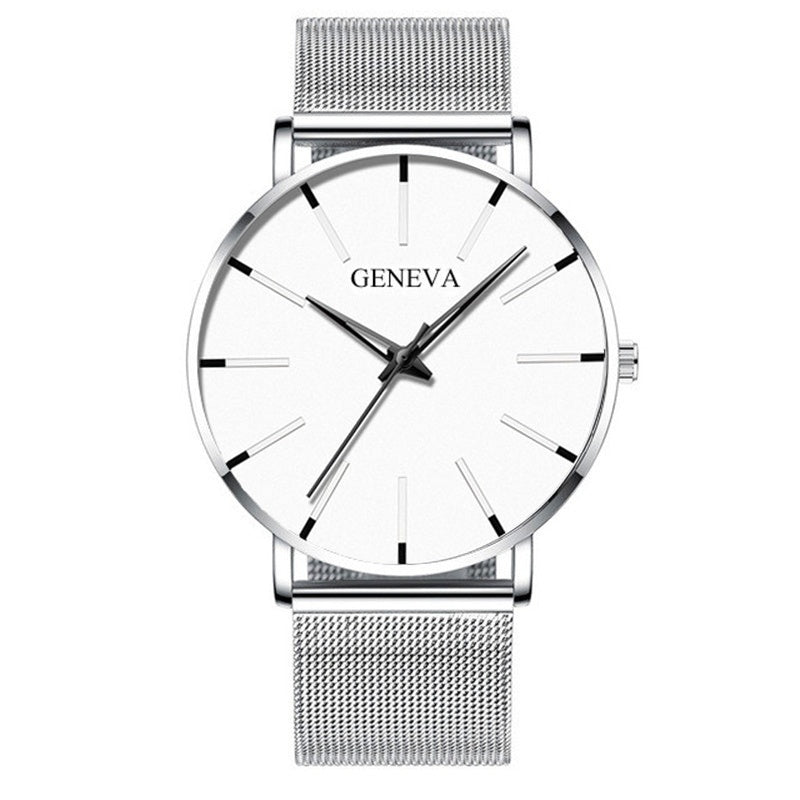 Luxury Watches Creative Simplicity GENEVA Ultra-thin Dial Quartz Watches Fashion Casual Stainless Steel Clock Montre Homme