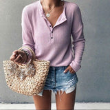 Womens Casual V-neck Long Sleeve Solid Color Knitted Tops Loose Button Pullover Tops Ladies Tops Blouses