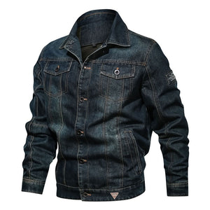 Men's Winter Jeans Jacket Handsome Casual Multi Pocket Lapel Jacket