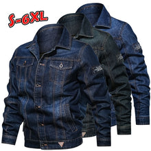 Load image into Gallery viewer, Men's Winter Jeans Jacket Handsome Casual Multi Pocket Lapel Jacket