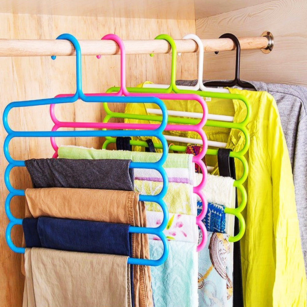 5-layer Space-saving Multifunctional Pants Racks Closet Organizer Pants Hangers Holders for Trousers Towels Scarf Tie Clothes Organizer Racks