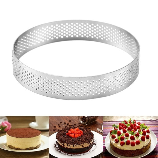 Retractable Stainless Steel Circle Mousse Ring Cake Baking Tool Set Size Shape Adjustable Bakeware Silver