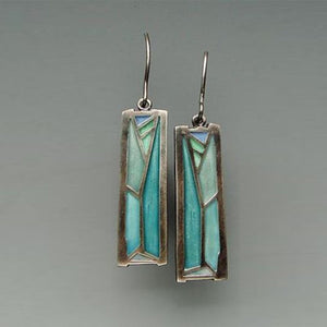 1 Pair Retro Women 925 Silver One-of-a-Kind Peacock Multicolored - Fire Labradorite Earrings Women's Wedding Earrings