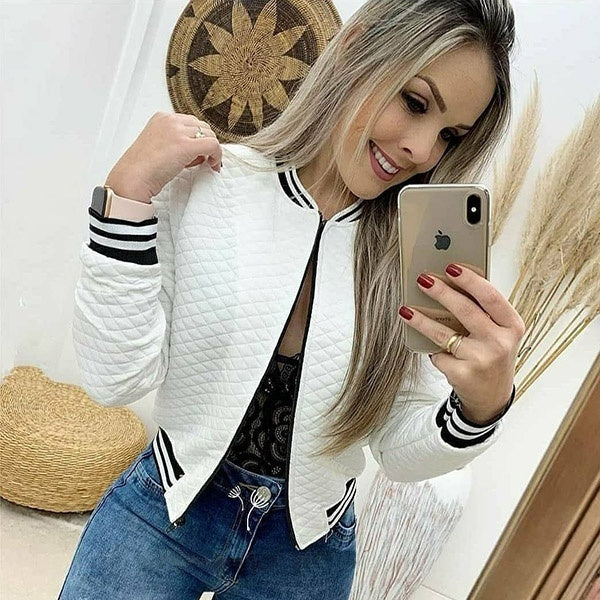 Autumn/Spring Fashion Women Solid Color Outwear Casual Zipper Up Short Pocket Bomber Jacket Coats