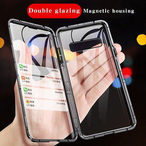 Luxury High Quality Magnet Double-sided Tempered Glass Maglev Adsorption Shell Suitable for S8 S8plus S9 S9plus S10 S10plus S10e S10-5G Note8 Note9 A7/9/30/50/60/70