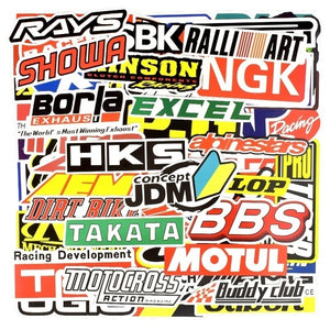 50/100 PCS Racing Car Stickers Graffiti JDM Car Modification Waterproof Sticker for Motorcycle Bicycle Helmet Motor Suitcase Laptop