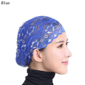 Muslim Women Lace Flash Bottoming Head Scarf  Islamic Under Inner Scarf For Hair Loss Accessories