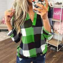 Load image into Gallery viewer, New Ladies Trending Clothes Casual V-neck Cotton T-shirt Long Sleeve Plaid Shirts Women Loose Blouse Plus Size Tops Chemise Femme