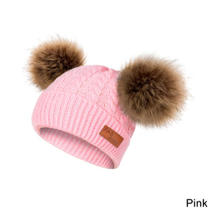 Pompom Baby Hat Warm Winter Hat for Baby Knitting Hat Girl and Boy Skullies Beanies Double Hairlballs Hat Infant Todder Cap(0-3years old)