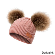 Load image into Gallery viewer, Pompom Baby Hat Warm Winter Hat for Baby Knitting Hat Girl and Boy Skullies Beanies Double Hairlballs Hat Infant Todder Cap(0-3years old)