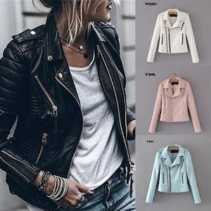 2019 Leather Jacket for Women Motorcycle Jacket New Fashion Women Personality