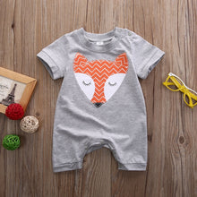 Load image into Gallery viewer, Baby Boys Girls Fox Jumpsuit Short Sleeve Animal Outfit