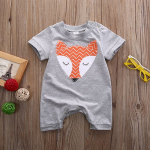Baby Boys Girls Fox Jumpsuit Short Sleeve Animal Outfit