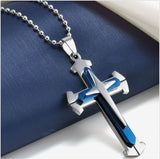Unisex Men Three Colors Stainless Steel Cross Pendant Necklace Chain Jewelry Xmas Gift