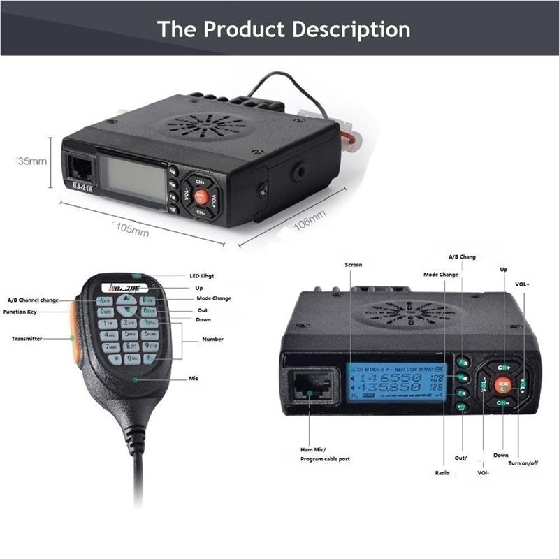 Car Walkie Talkie Radios Comunicador Long Range Mini Mobile Radio Transceiver VHF/UHF Ham CB Radio For Truck
