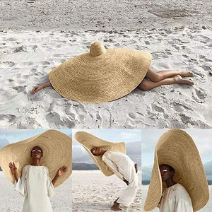 31.4'' Wide Brim Hat Womens Sun Straw Hat Oversized Wide Brim Summer Hat Foldable Roll up Floppy Beach Hats Cap Packable for Travel