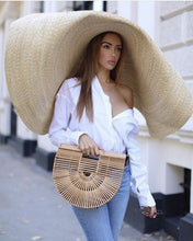 Load image into Gallery viewer, 31.4'' Wide Brim Hat Womens Sun Straw Hat Oversized Wide Brim Summer Hat Foldable Roll up Floppy Beach Hats Cap Packable for Travel