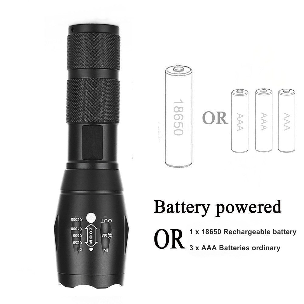XM-L T6 led Torch Zoomable LED Flashlight Torch light For 3xAAA or 1x18650