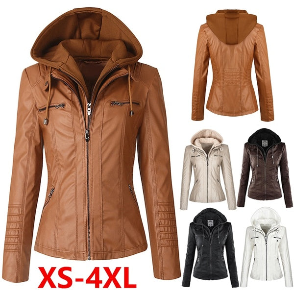 Women Fashion Hooded Leather Jacket Motorcycle Coats Winter Lady Casual Slim Fit Jacket Street Female Tops