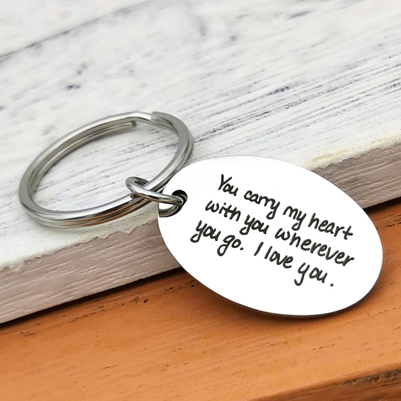 You Carry My Heart Wherever You Go - Engraved Keychain - Long Distance Relationship - Boyfriend Gift