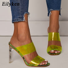 Load image into Gallery viewer, Summer sandals for women: transparent PVC sandals with leather, peep-toe ankles, chunky heels, slip heels, 11-heel sandals