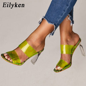 Summer sandals for women: transparent PVC sandals with leather, peep-toe ankles, chunky heels, slip heels, 11-heel sandals