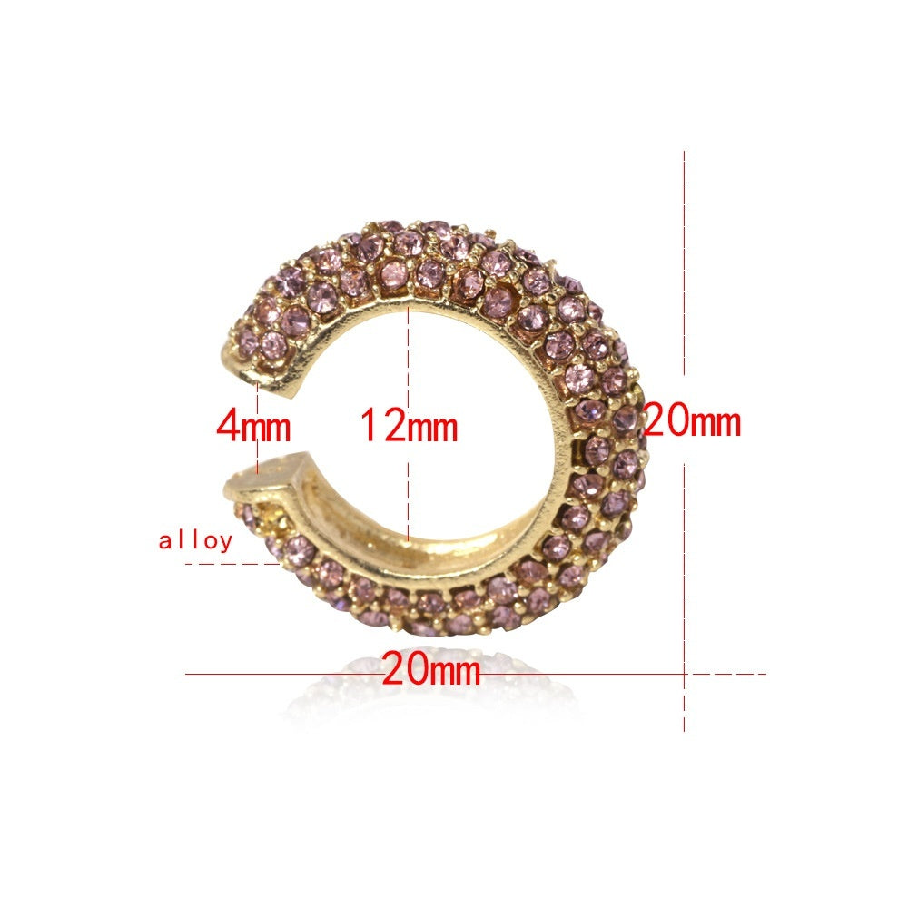 Ear Cuffs Earring for No Piercing Ears,Pave Crystal Gold Clip Cartilage Earrings for Women Girls