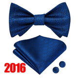 Fashion Mens Self Bowtie Handkerchief Cufflinks Set Mens Suit Bow Tie Set