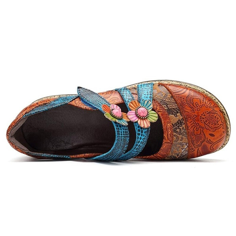 Retro England Floral Leather Stitching Sandals Stripes Wedges Flat Shoes Casual Shoes