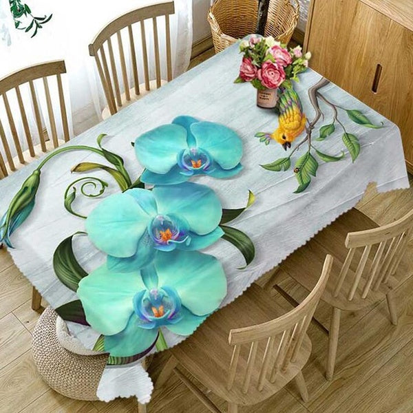 Tablecloth Waterproof Dustproof Thicken Rectangular and Round Tablecloth 3d Digital Printing Magnolia Flower Home Tablecloth