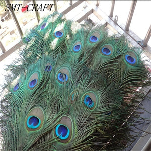 Top quality peacock feathers 10 Pcs/lot length 25-32 CM beautiful natural peacock feather Diy jewelry Decorative Deco fittings