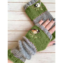 Load image into Gallery viewer, New Women Fashion Warm Stitching Embroidery Half-Finger Fingerless Winter Warm Knitting Gloves