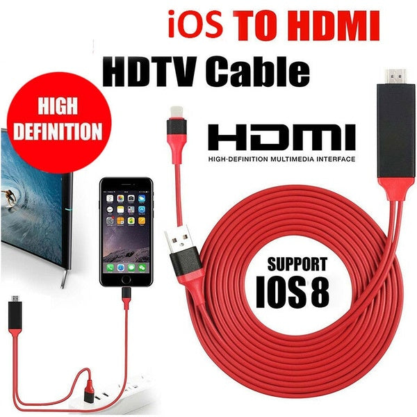 Stock 1080P 2m iOS to HDMI TV AV Adapter Cable Lead For 'iPhonex 8 Plus