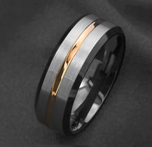 Load image into Gallery viewer, 8mm Silver Brushed Black Edge Tungsten Carbide Ring Gold Stripe Mens Wedding Band
