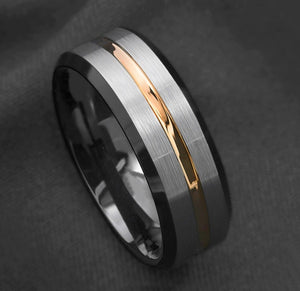 8mm Silver Brushed Black Edge Tungsten Carbide Ring Gold Stripe Mens Wedding Band