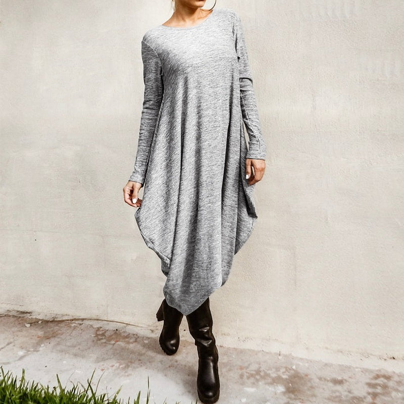 ZANZEA Women Fashion Casual Loose Long Sleeve O Neck Irregular Hem Long Midi Kaftan Abaya Gown Plain Baggy Oversized Dress Plus Size