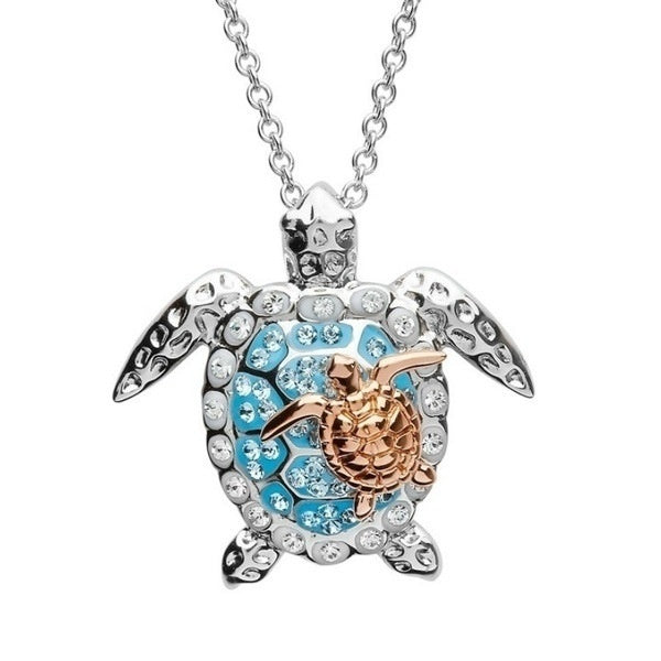 New Pretty 925 Sterling Silver Turtle Necklace Sea Turtle Mother & Baby Pendant Personality Charm Women Jewelry Mother's Day Gift