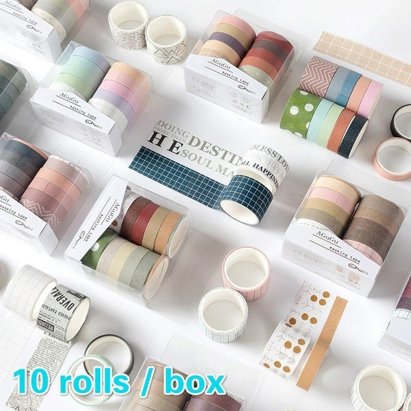 10 Roll Sweet Color and Paper Washi Tape Set Diy Hand Account Part Secant Decorative Sticker Diary Note