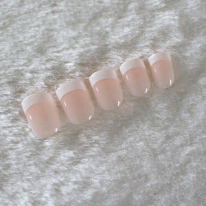 24Pcs Natural French Short False Nails Acrylic Classical Full Cover Artificial Nails for Home Office faux ongles Fake Nails Art