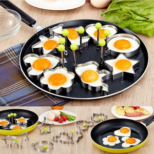 Fried Egg Rings Mold Non Stick for Griddle Pan, Egg Shaper Pancake Maker with Handle, Stainless Steel Egg Form for Frying Cooking